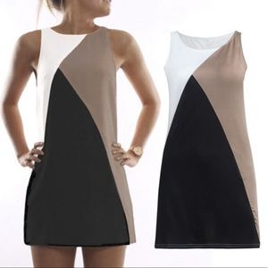 Color Block Casual Mini Fitted Sleeveless Dress